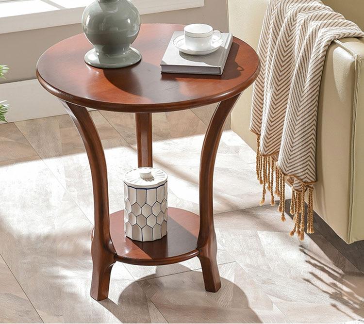Боковой столик для гостиной из массива дерева, Маленький журнальный столик, угловой столик для дивана из дуба, двухслойный, Круглый, диаметр... столик laredoute журнальный круглый из массива дуба crueso единый размер каштановый