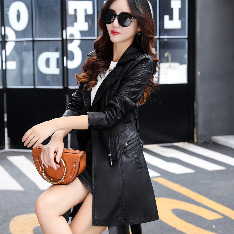 THEME 21 Pu Leather Jacket Women New Fashion Black Motorcycle Coat Long Faux Leather Biker Jacket Soft Slim Jacket Female enlarge