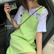 2021 Fashion Summer New Casual Women's Denim Braces Dress Baggy Fruit Green Solid Color Youth Vitali