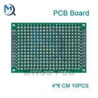10pcs double sided prototype pcb breadboard 4x6 cm fr4 glass fiber 40x60 mm diy kit tinned universal expansion board module