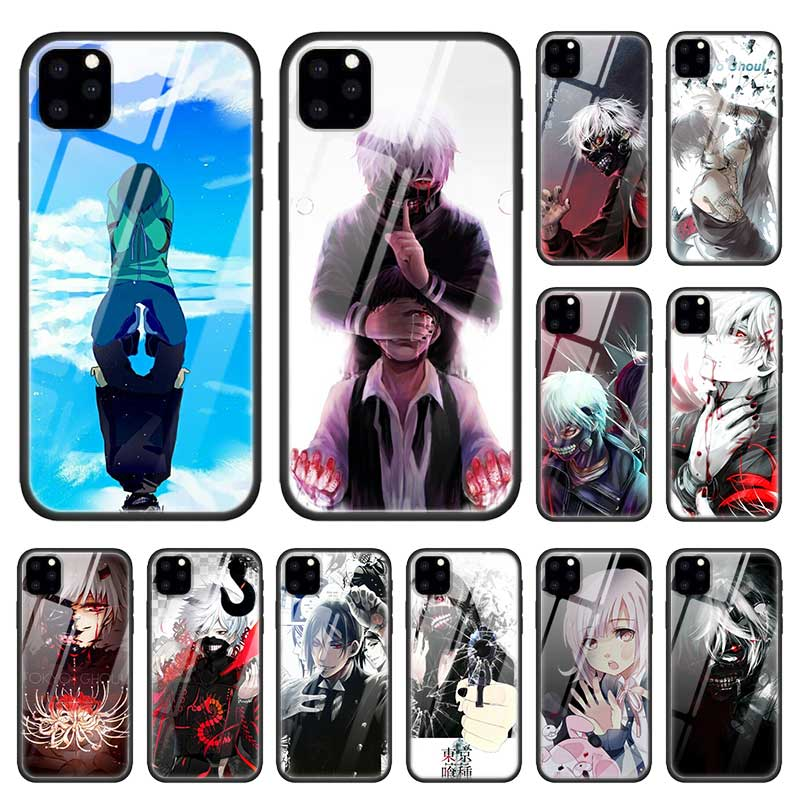 Tokio demonios caso para Apple iphone 11 Pro XR XS Max X 7 7 6 6S Plus cristal templado + funda de teléfono de silicona negra Anime Coque