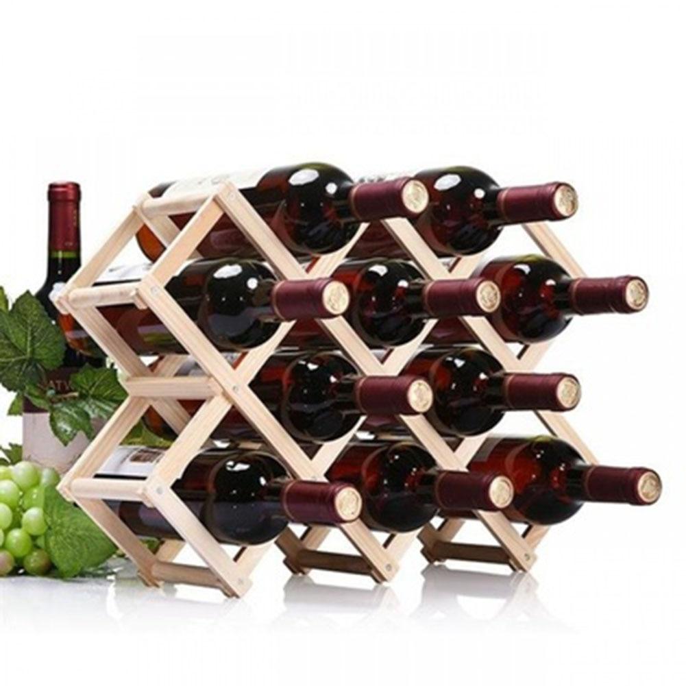 Suporte de Garrafa de Vinho de Madeira Prateleiras de Vinho Dobrável Detém 10 Garrafas Rack Melhor Preço 3 – 6