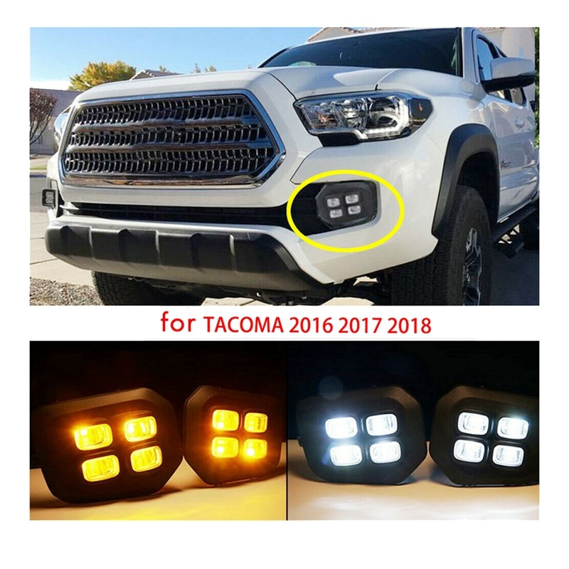 for 2016-2019 Toyota Tacoma 4-Eyes Style LED DRL Daytime Running Lights Clear Fog Lights Lamps with Turn Signal