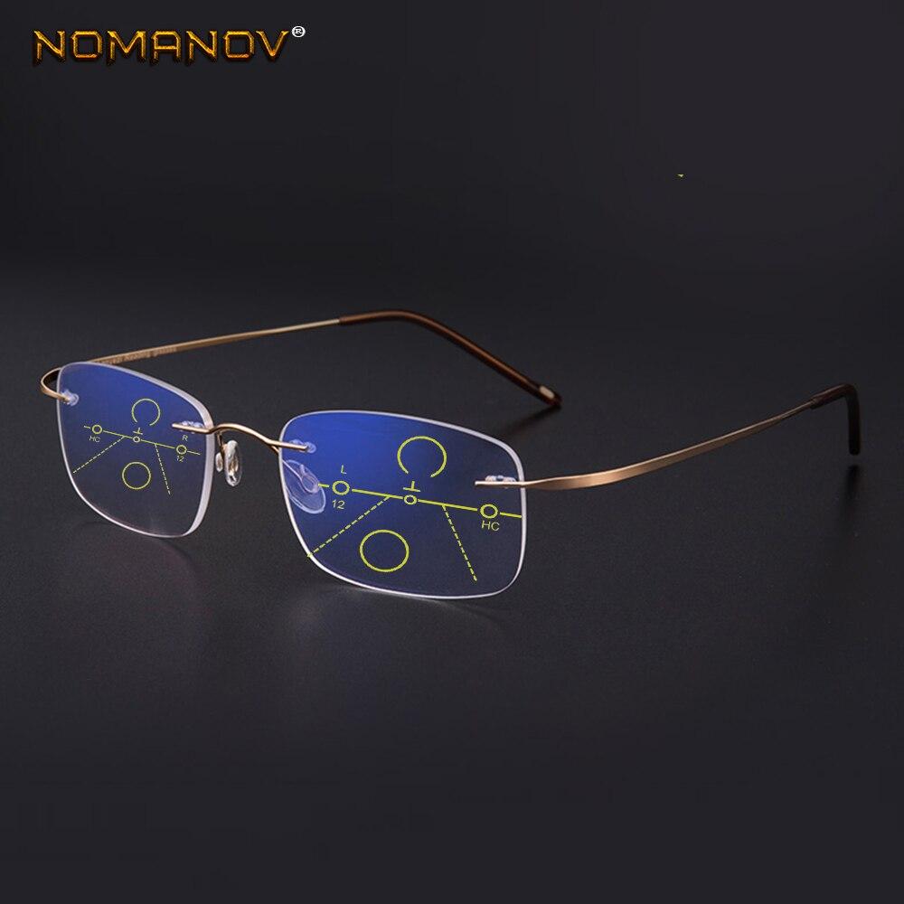 NOMANOV = 8 colores, gafas de lectura multifocales sin marco de aleación de titanio, ver cerca y lejos añadir + 75 100 150 175 200 a 400