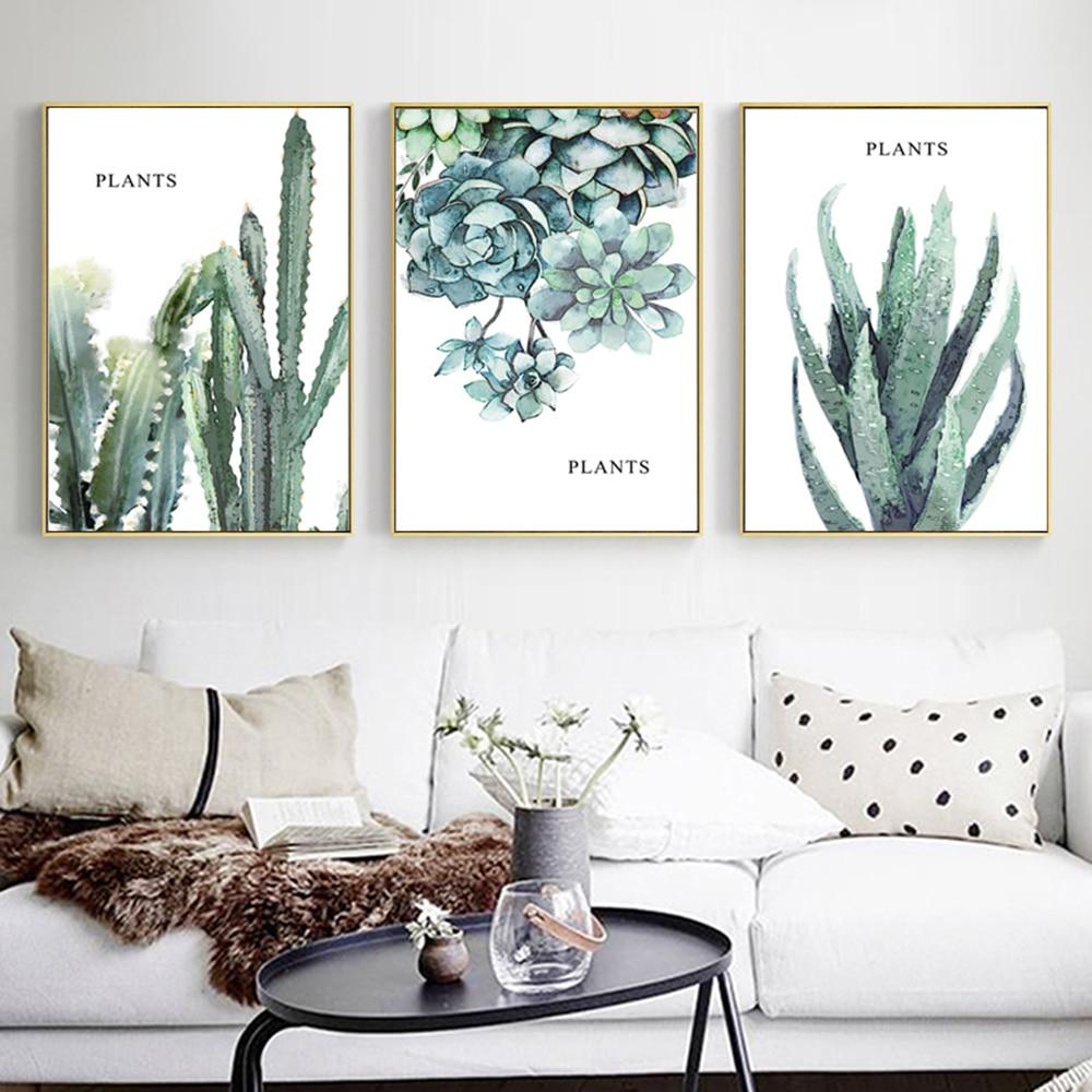 Nwe verde plantas cartel imprimir cuadro sobre lienzo para pared de pared...