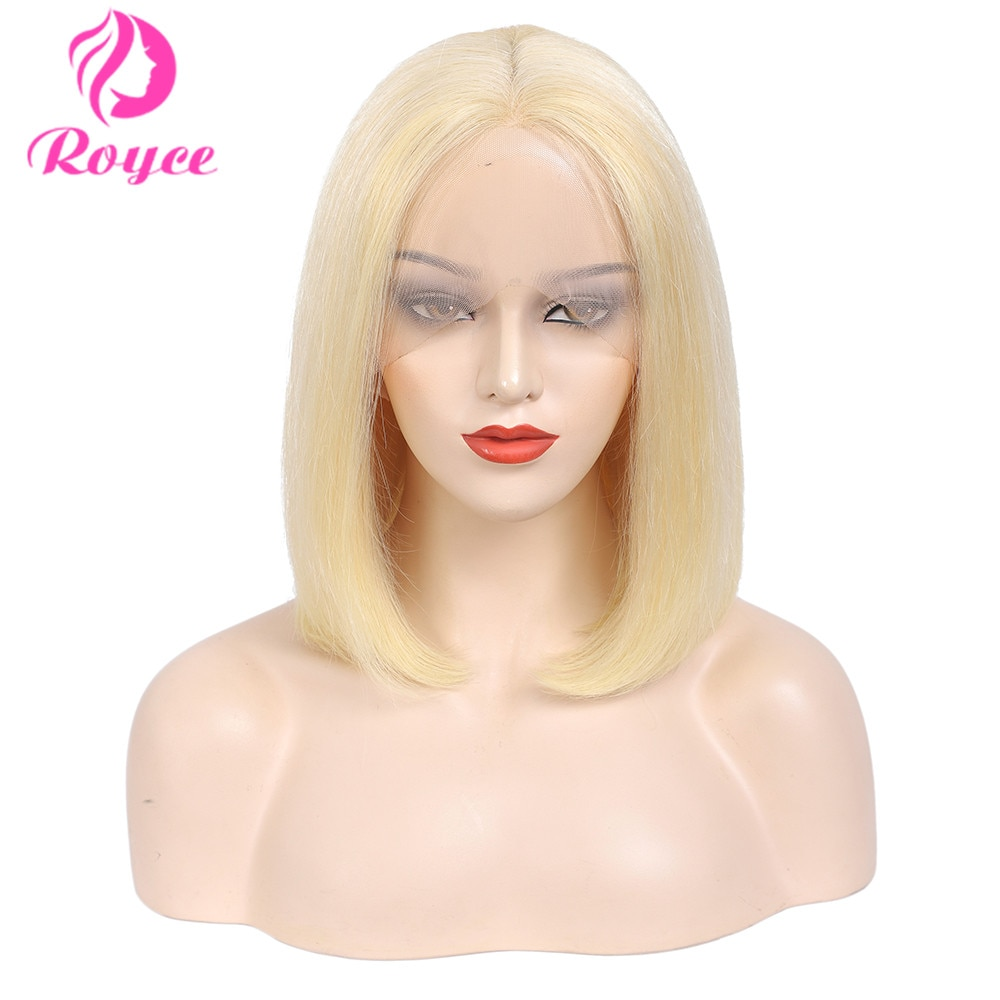 Short Bob Colored Honey Blonde Lace Front Wig Human Hair Bone Straight 613 Lace Frontal Wig T Part Transparent Lace Bob Wigs 180
