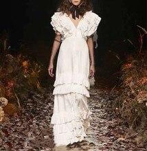 Whtie Schwarz Lange Kleid Top Qualität Mode V-ausschnitt Sexy Nachtclub Elegante Promi Vintage Party Kleid