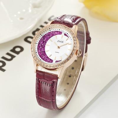 Ladies Casual Watch 2019 Women Red Leather Strap Quartz Wristwatches Luxury Brand Women's Crystal Fashion Bracelet Clock enlarge