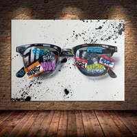 graffitti art sunglasses canvas painting posters prints pop street art glasses wall art pictures cuadros for home decor unframed