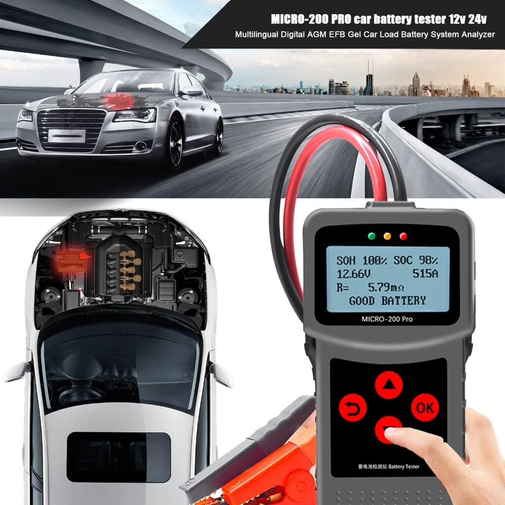 Автомобильный Батарея Тестер 12V 24V мульти-Язык цифровой свинцово-кислотный гель автомобильной нагрузки Батарея Системы анализатор MICRO-200 PRO