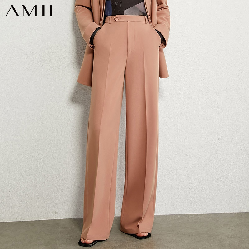 Amii Minimalism, pantalones de otoño para mujer, pantalones informales estilo OLstyle sólido para mujer, pantalones sueltos de cintura alta, pantalones femeninos 12030311