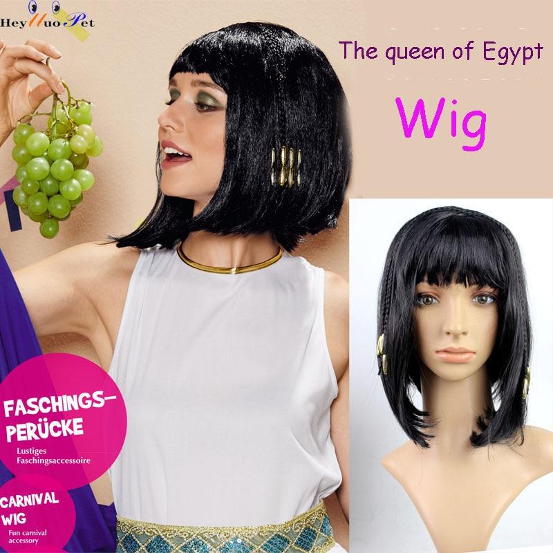 Cleópatra tranças longo cabelo reto cleópatra festa adereços cos cocar preto cabelo reto