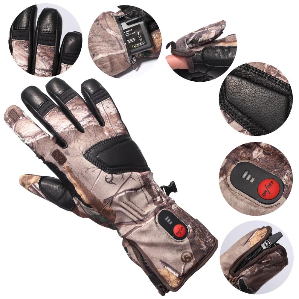 Unisex  Winter Warm 3 Levels Switch Self Heating Transfer Electric Camo Heated Gloves Liner for Running Skiing Bicycling Hunting