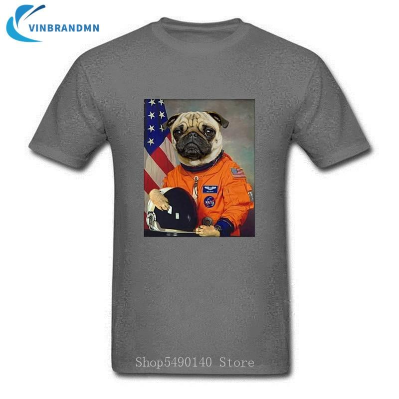 Hipster astronauta Pug SpaceX camiseta bonita perro Hip Hop Anime Cool Top hombres Verano Divertido diseño Animal manga corta Camiseta ropa