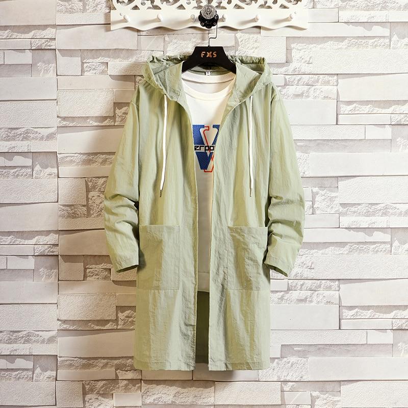 2020 sunscree vestuário masculino longo protetor solar casaco verão protetor solar retro blusão masculino casaco de cor sólida grande tamanho
