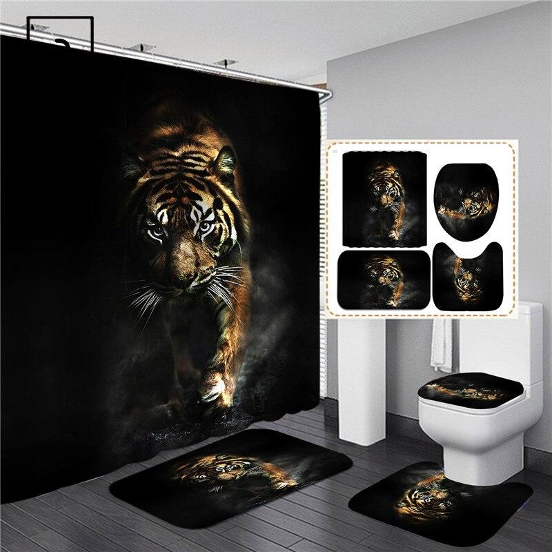 Set de cortina de ducha con estampado de tigre negro con animales, pantalla de baño, tapa antideslizante para inodoro, alfombra, alfombras, decoración para la cocina y el hogar