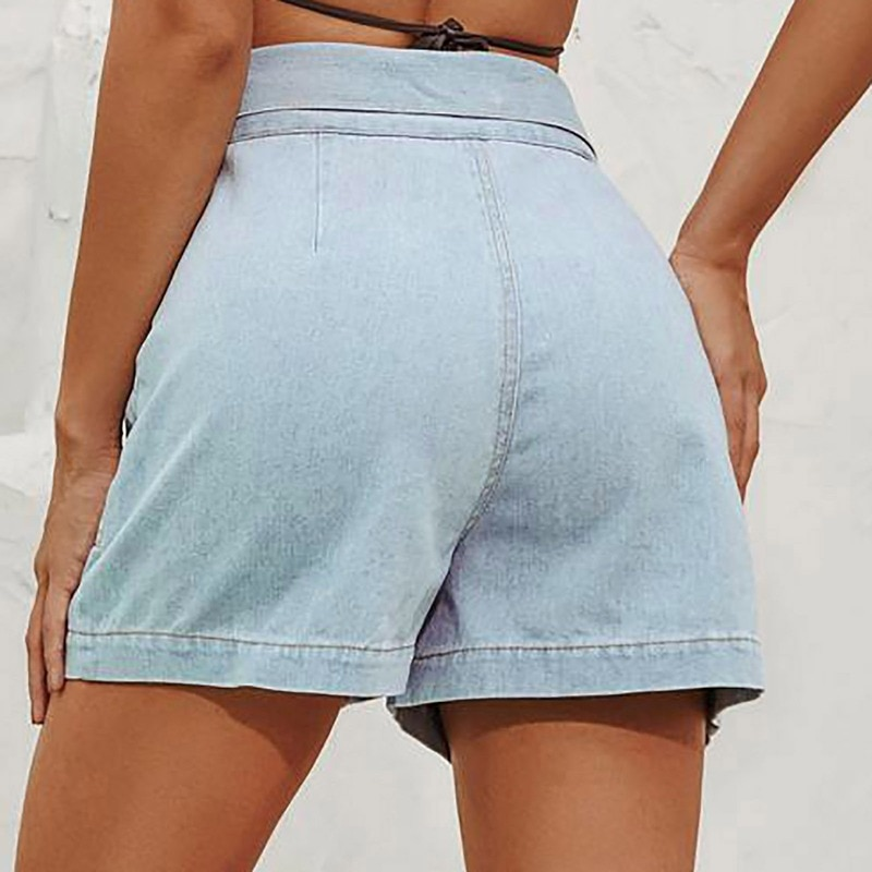 Denim Shorts Women's Summer New Style Jeans Fashion Women's Pants High Waist Button Straight Distressed Jeans Denim Shorts  - buy with discount