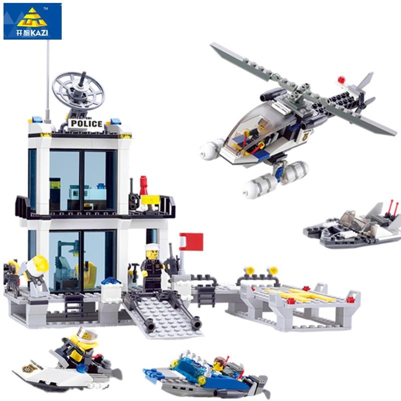 Estación de Policía 6726 bloques de construcción helicóptero barco juguetes de bloques de modelismo Compatible famosa marca Brinquedos Regalo de Cumpleaños Legoings
