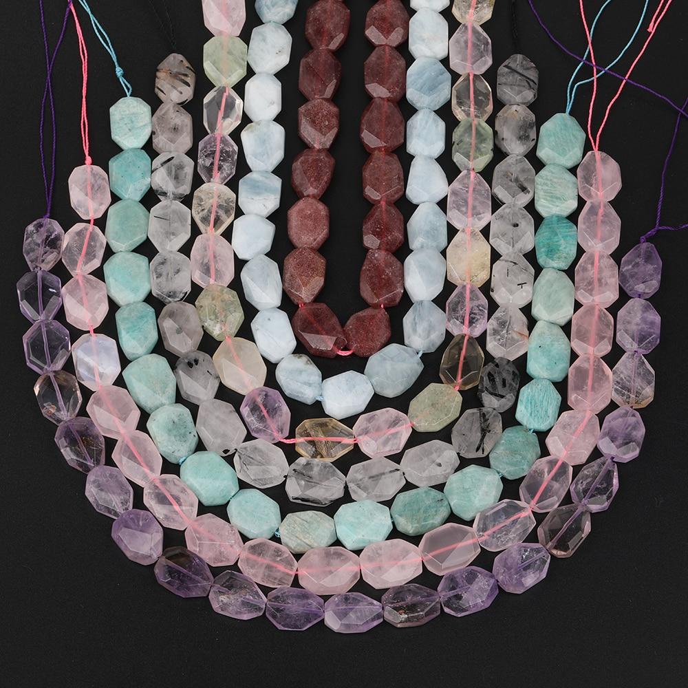 Facetado pedra mista fatia solta espaçador grânulos pingente colar, ametistas quartzo freeform laje grânulo jóias descobertas SF-77AMCH