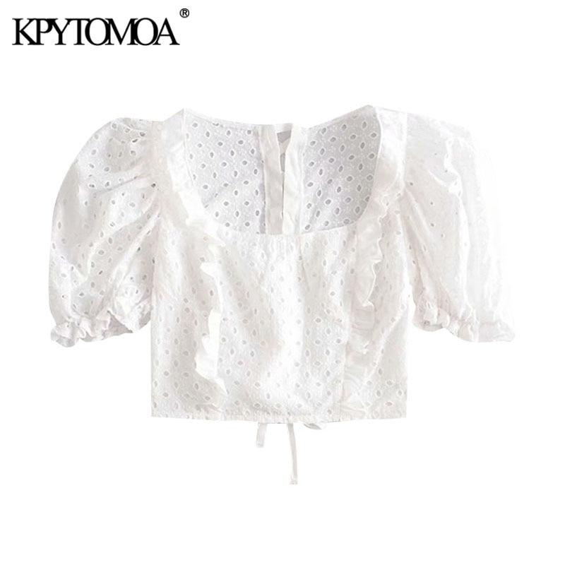 Женская укороченная блузка KPYTOMOA, винтажная блузка с вышивкой и оборками, с пышными рукавами и шнуровкой сзади, шикарные топы, 2020