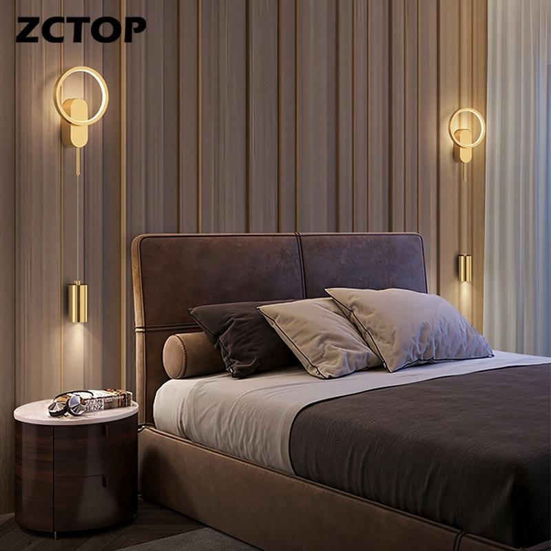 الحديثة Led النحاس الجدار ضوء بسيط نوم الجدار مصباح السرير ضوء الإبداعية غرفة المعيشة الممر الممر ضوء الذهب الأسود تركيبات