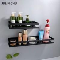 Etagere de salle de bain en acier inoxydable  noir  etagere de rangement pour shampoing  douche  adhesif  carre  cuisine  salle de bains  Shlef 20cm 30cm 40cm 50cm