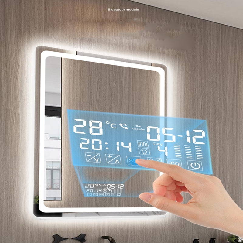 60x80 سنتيمتر 50x70 سنتيمتر 70x90 سنتيمتر بلوتوث الذكية مستطيلة المكياج مرآة حمام جودة عالية ثلاثة اللون مرآة حمام ليد مرآة حمام