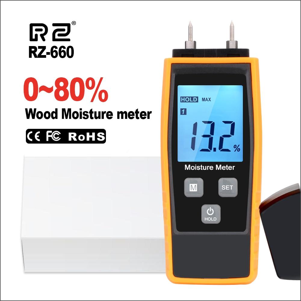 RZ Wood Moisture Meter Digital Wood Moisture Meter Concrete 0-80% Emt01 Woodworking Measuring carton Building Material Moisture