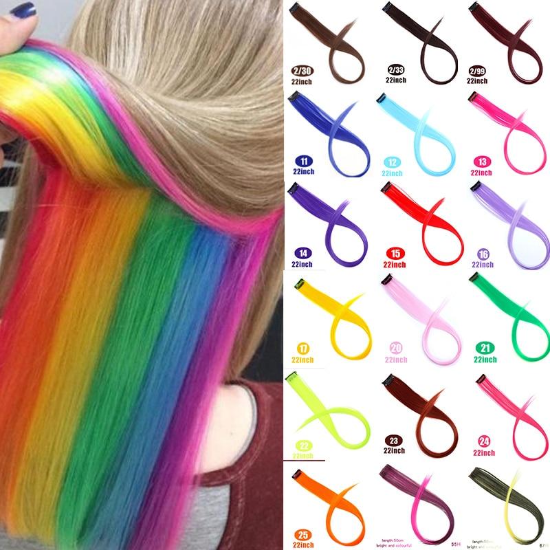 DIANQI Color Clip de pelo en una parte extensiones de cabello resaltar pelo del arco iris racha sintético Color rosa pelo