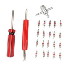 20pcs Schrader Valve Core Dual Single Removers and 4-Way Tire Valve Tools Nickel and Zinc Alloy Plating Practical Repairing Kits