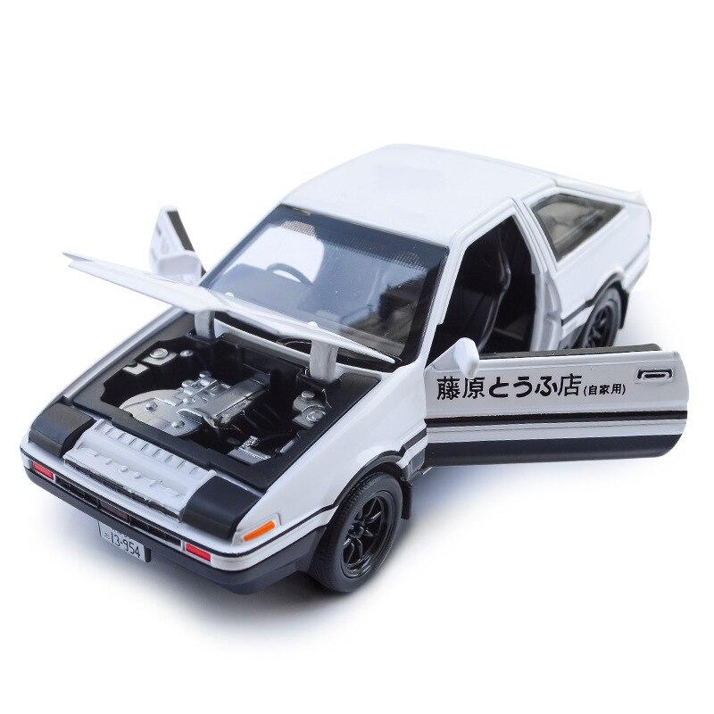 Coche de juguete inicial D AE86 128, coche de aleación metálica, coches de juguete, vehículos de juguete, modelo a escala en miniatura, coche de juguete para niños