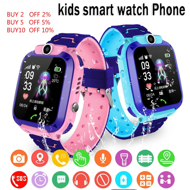 Q12 Children's Smart Watch SOS Phone Watch Smartwatch For Kids With Sim Card Photo Waterproof IP67 K