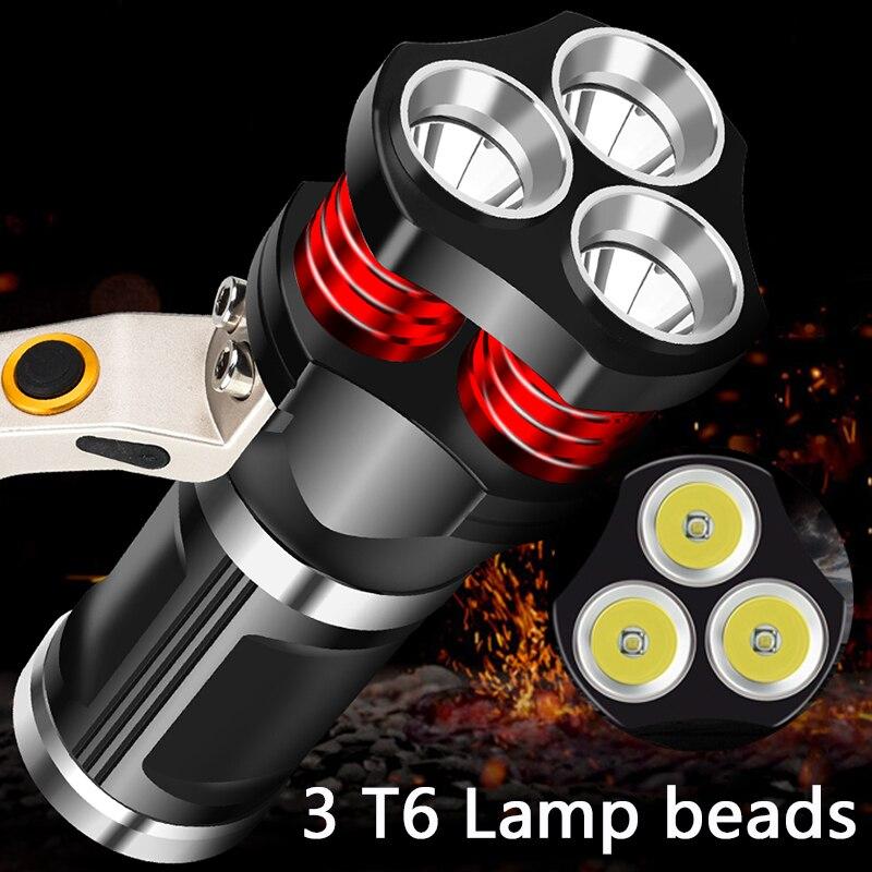 Linterna LED Litwod 3 piezas linterna recargable XM-L T6 6000LM 3 modelo potente bombilla de aluminio impermeable lámpara de mano de Luz Portátil