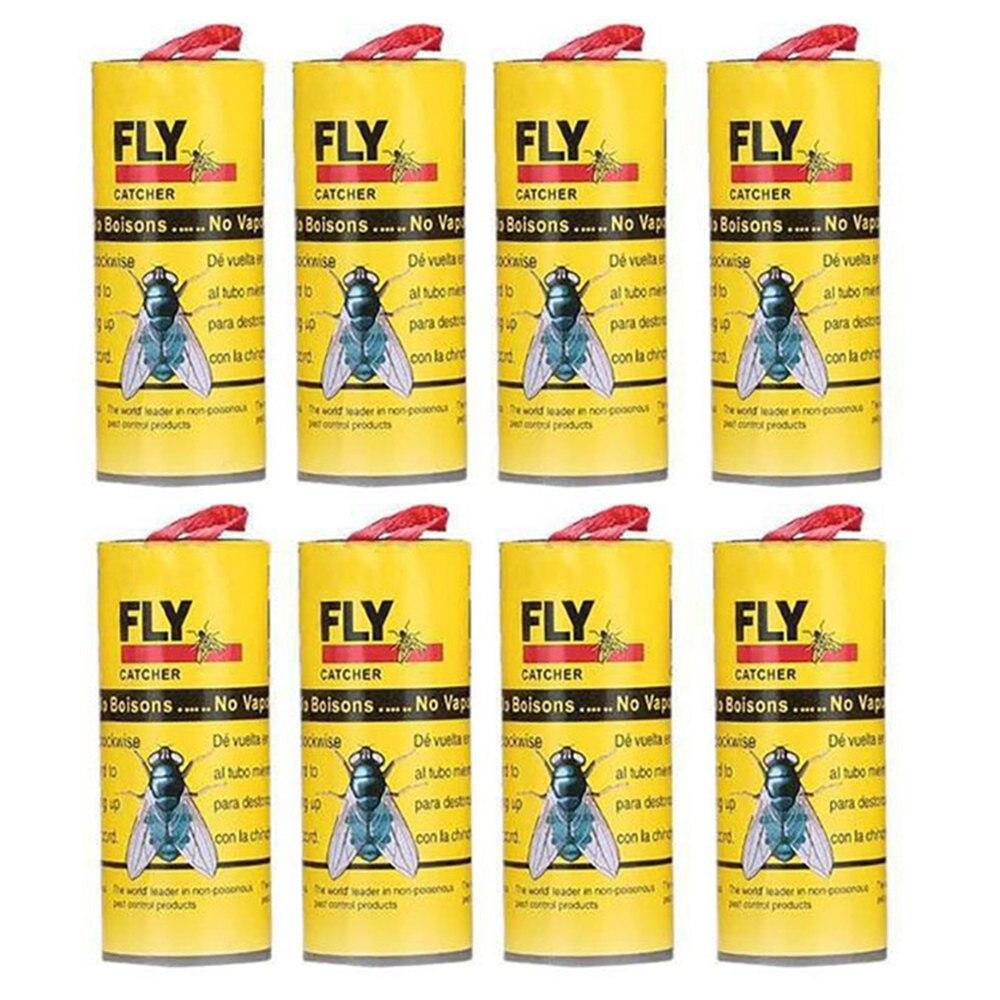 Клейкая бумага для мух, 8 рулонов клея для домашней комнаты, для устранения мух, насекомых, Жуков, клея для бумаги, ловушка для ловли летающих насекомых, # GM