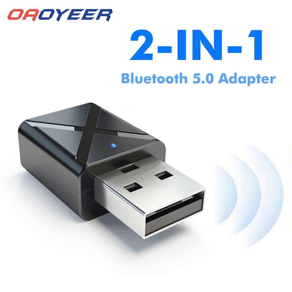 Bluetooth 5.0 receptor de áudio estéreo 2in1 transmissor mini bluetooth aux rca usb 3.5mm jack para tv pc a2 kit carro adaptador sem fio