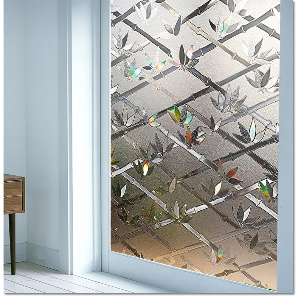 Película de ventana de privacidad LUCKYYJ, decoración estática 3D, película de vidrio adhesivo para rechazo UV, pegatinas de ventana de vidrio con Control de calor