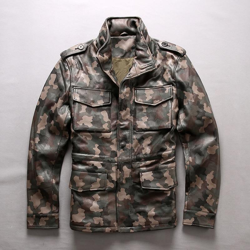 M65 2020 Camouflage men's fashion genuine jacket safari style slim fit sheepskin motorcycle leather coat men