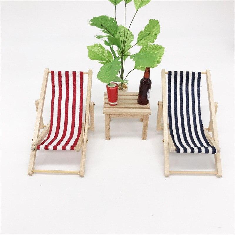 1 шт. деревянный стул в полоску для 1/12 кукольный домик миниатюрная мебель для кукол кукольный домик пляжное кресло Рождественский подарок детская игрушка