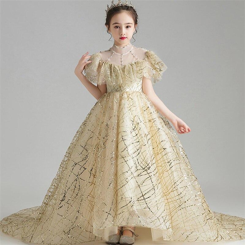 Meninas de alta qualidade crianças luxo lantejoulas noite festa de férias princesa cauda longa vestido adolescentes trajes piano anfitrião vestido