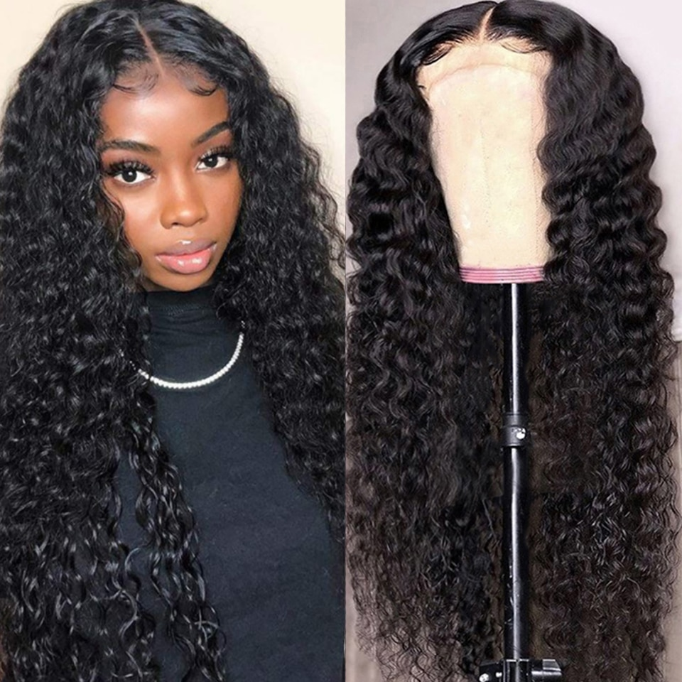 Deep Wave Lace Front Human Hair Wigs For Women 13X4 Lace Frontal Wig Peruvian kinky Curly Lace Closure Wig 4X4 Lace Wig