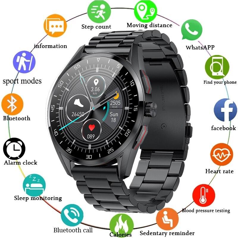 2021 الأعمال الذكية ساعة الرجال بلوتوث دعوة الروتاري زر IP68 مقاوم للماء معدل ضربات القلب Smartwatch لسامسونج شاومي هواوي GT2