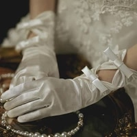 new bride gloves satin bow knot with fingers short white glove wedding dress accessories photo