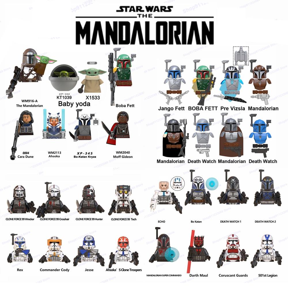 Los mandalorianos bloques de construcción bebé Yodas ladrillos Boba Fett Obi-wan Ahsoka...