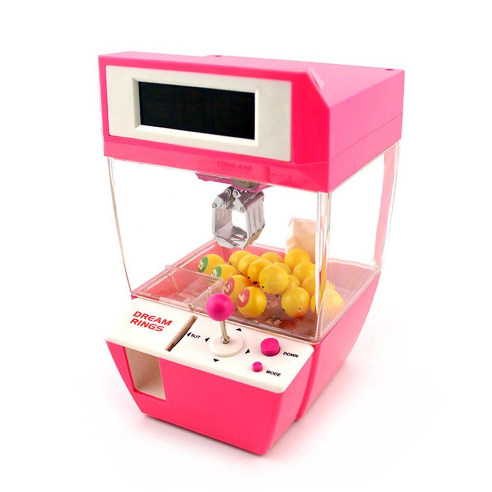 Moneda operado caramelo Grabber muñeca bolas Catcher juego juguetes Mini grúa de la garra de la máquina con alarma reloj para niños conjunto de la bola