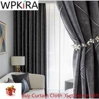 modern dark grey plaid velvet blackout curtains for bedroom living room light luxury high shade insulation window drapes ad530h
