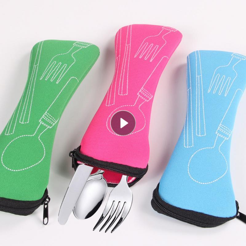Dinnerware Portable Printed Stainless Steel Spoon Fork Steak Knife Set Travel Cutlery Tableware With Bag Household Products