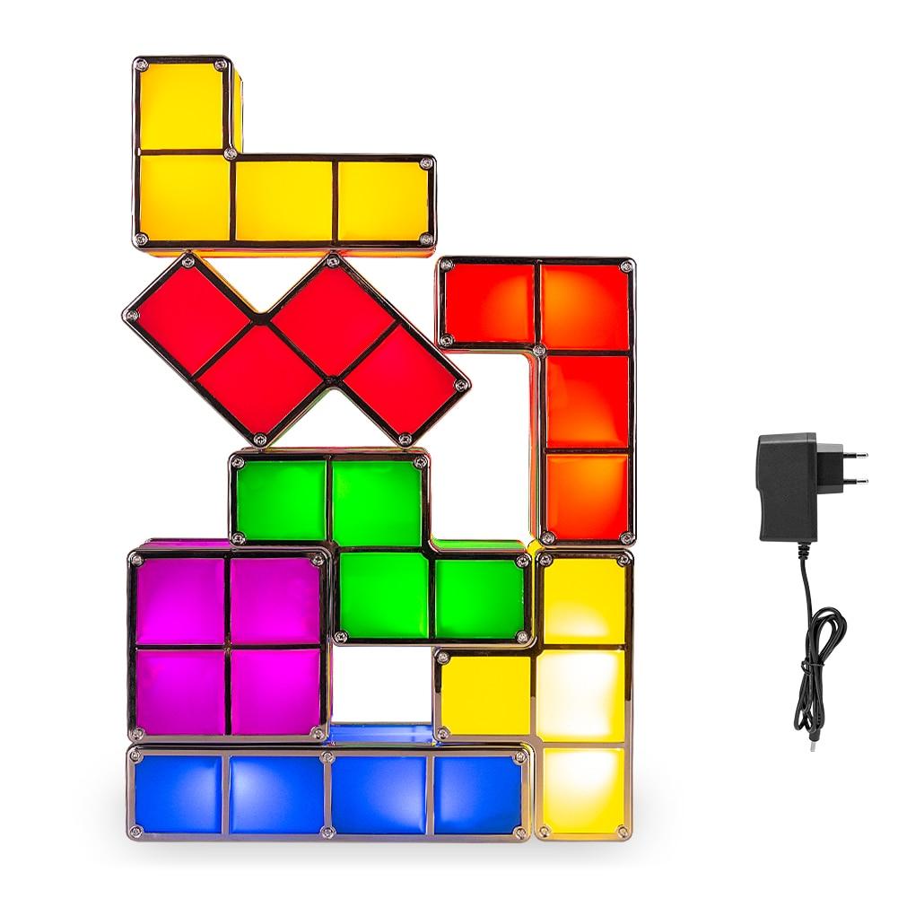 7PCS Tetris Lamp Stackable LED Night Light Tetris Puzzle Light Magic Light Up Blocks Induction Interlocking LED Novelty DIY Toy