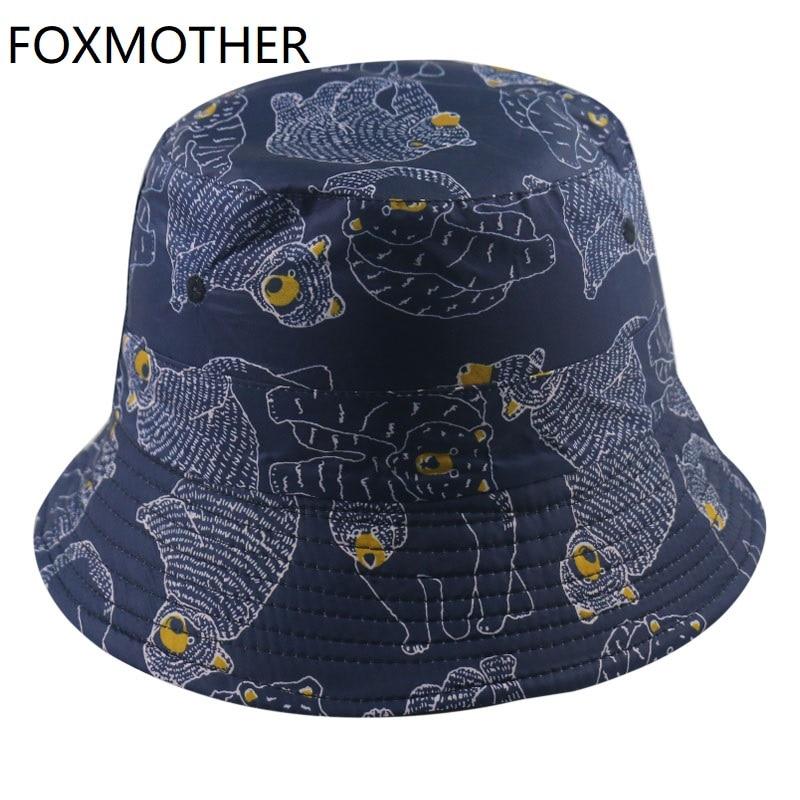 Foxmère nouvelle mode réversible Panama casquettes Animal marine ours modèle pêcheur chapeau hommes seau chapeaux été