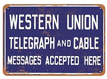 Rústico Occidental Unión Telegraph Cable y de aspecto Vintage signo de Metal