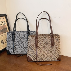 Fashion Plaid Prints Canvas Women Tote Bag Large Capacity Commuter Working Shoulder Bag Charm Female Handbags Luxury Designer